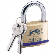 SOLID BRASS PADLOCK 50MM DRAPER