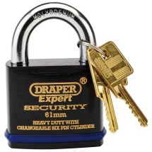 SOLID STEEL P/LOCK 61MM H/DUTY,DRAPER
