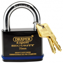 SOLID STEEL P/LOCK 70MM H/DUTY,DRAPER