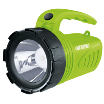 LED RECHARGEABLE SPOTLIGHT 3W TORCH - DRAPER - GREEN