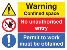WARNING CONFINED SPACE NO ENTRY PERMIT TO WORK