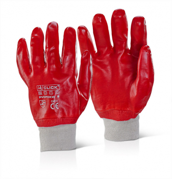 PVCFCKWR - PVC Fully Coated Knitwrist Red Glove