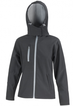 R230F Ladies Black Hooded Softshell Jacket
