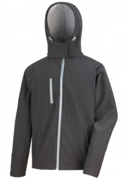 R230M Mens Black Hooded Softshell Jacket