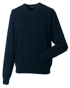 710M Russell Collection Men's V-Neck Knitted Pullover
