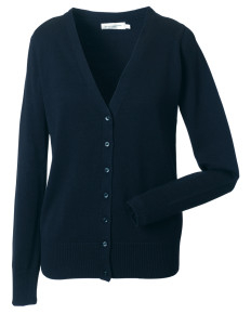 715F Russell Collection Ladies' V-Neck Knitted Cardigan
