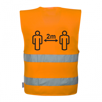 C406 Hi-Vis Orange Social Distancing Vest 2m