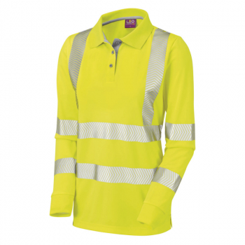 PL08 Pollyfield Womens L/S Poloshirt Yellow