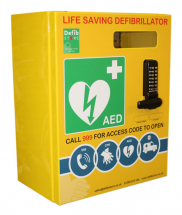 DEFIBRILLATOR STAINLESS STEEL CABINET WITH LOCK & ELECTRICS
