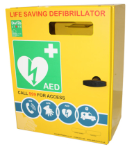 DEFIBRILLATOR STAINLESS STEEL CABINET NO LOCK & ELECTRICS