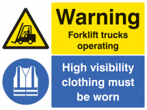 WARNING FORKLIFT TRUCKS OPERATING HIVIZ MUST BE WORN