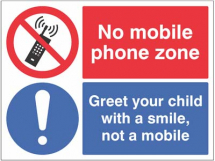 NO MOBILE PHONE ZONE GREET YOUR CHILD WITH A SMILE