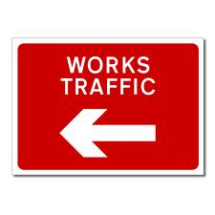 WORKS TRAFFIC PLATE 1050mm X 750mm