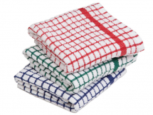 COLOURERED CHECK TEA TOWEL PACK 10